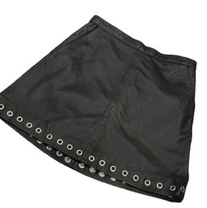 NWT Genuine leather black H&M skirt